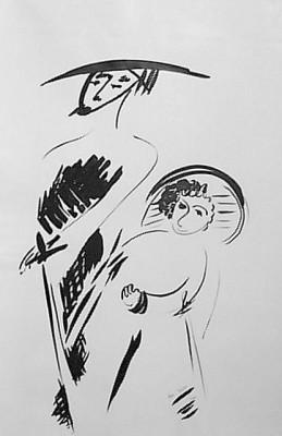 Дон Кихот, 2001, тушь, бумага