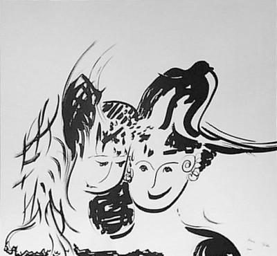 Валет и дама, 2001, тушь, бумага
