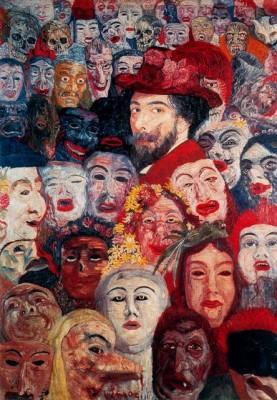 Автопортрет с масками Джеймса Энсора (James Ensor)