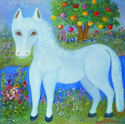 Лошадь в серебряном бору