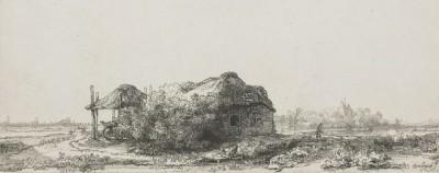 Рембрандт, Пейзаж с хижиной и сенным сараем