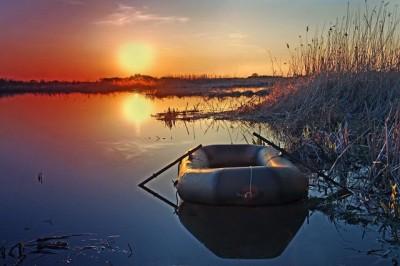 Два солнца или пора сматывать удочки - Украина, Киевская обл., с.Кийлов, Днепровский залив.