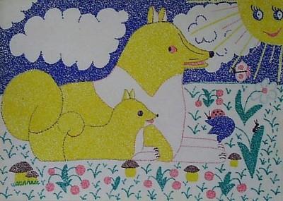 Мой детский рисунок в технике пуантилизма